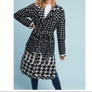 Anthropologie black & white houndstooth wool coat